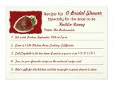 Recipe themed Bridal Shower Invitations Recipe Bridal Shower Invitations