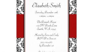 "Red and Black Bridal Shower Invitations Black and Red Damask Bridal Shower Invitations 5"" X 7"
