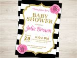 Red Black and Gold Baby Shower Invitations Pink Black Gold Baby Shower Invitation Black and White Baby