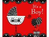 Red Black and White Baby Shower Invitations Red and Black Train Baby Boy Shower Invitation