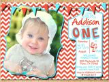 Red White and Blue 1st Birthday Invitations 1st Birthday Invitation Red White and Blue Chevron Pastel