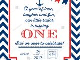 Red White and Blue 1st Birthday Invitations Nautical Sailor theme Printable First Birthday Stock