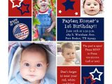 Red White and Blue 1st Birthday Invitations Starry Twin Birthday Invitations Patriotic Red White