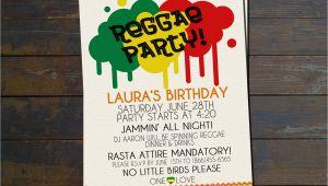 Reggae themed Party Invitations Reggae Party Birthday Invitation