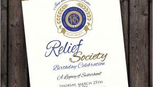 Relief society Birthday Invitation Template Customized Wording Relief society Birthday Party Invitation