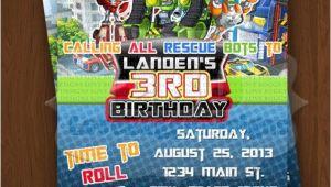 Rescue Bots Party Invitations Rescue Bots Invitation Rescue Bots Birthday Invitations