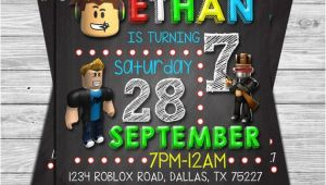 Roblox Party Invitation Template Roblox Birthday Invitation Roblox Chalkboard Invitation