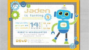 Robot Birthday Invitation Template Robot Invitation Robot Birthday Invitation Robot