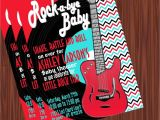 Rock and Roll Baby Shower Invitations Rock and Roll Baby Shower Invitation Red Mimi S Dollhouse