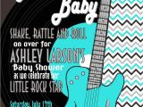 Rock and Roll Baby Shower Invitations Rock and Roll Baby Shower Invitation Teal Silver Mimi S