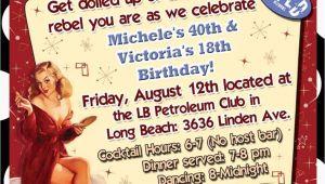 Rockabilly Birthday Invitations Rockabilly Vintage Retro Birthday Party Invitation
