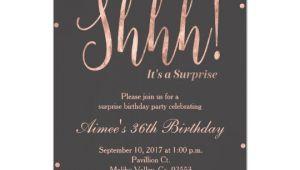 Rose Gold Birthday Invitation Template Rose Gold Surprise Birthday Party Invitation Zazzle Com
