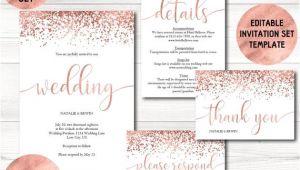 Rose Gold Wedding Invitation Template Rose Gold Wedding Invitation Template Calligraphy Wedding