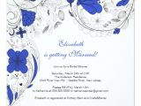 Royal Blue Bridal Shower Invitations Floral Flowers Bridal Shower Invitation Royal Blue Zazzle