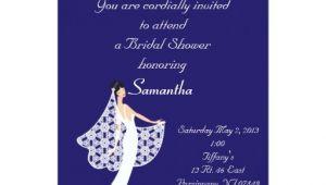 Royal Blue Bridal Shower Invitations Royal Blue White Bride Bridal Shower Invitation Zazzle