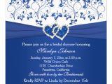 Royal Blue Bridal Shower Invitations Royal Blue White Floral Hearts Bridal Shower 5 25×5 25