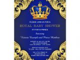 Royal Prince Baby Shower Invitations Fancy Prince Baby Shower Blue and Gold Card