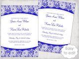 Royal Wedding Invitation Template Free Lace Wedding Invitation Template Royal Blue Linen