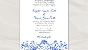 Royal Wedding Invitation Template Free Royal Blue Wedding Invitation Template Diy Printable Birthday