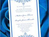Royal Wedding Invitation Template Free Royal Blue Wedding Invitation Template Editable Microsoft