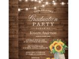 Rustic Party Invitation Template Rustic Sunflowers String Lights Graduation Party