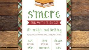 S More Party Invitation S Mores Party Birthday Invitation Plaid by Modernwhimsydesign