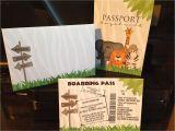 Safari Passport Baby Shower Invitations Jungle Safari Passport Boarding Pass Invitation Set