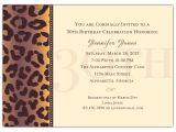 Sample 30th Birthday Invitation Wording Cheetah 30th Birthday Invitations