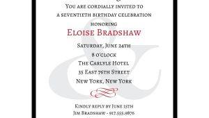 Sample 70th Birthday Invitation Wording Classic 70th Birthday Milestone Invitations