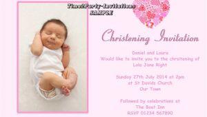 Sample Baptismal Invitation Layout Sample Invitation for Christening Cards