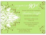 Sample Invitations for 90th Birthday Party andromeda Green Surprise 90th Birthday Invitations