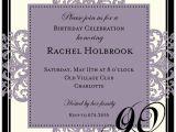 Sample Invitations for 90th Birthday Party Decorative Square Border Eggplant 90th Birthday