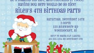 Santa Birthday Party Invitations Christmas Santa Claus Birthday Party Invitations