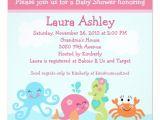 Sea Life Baby Shower Invitations Under the Sea Life Girl Baby Shower Invitation
