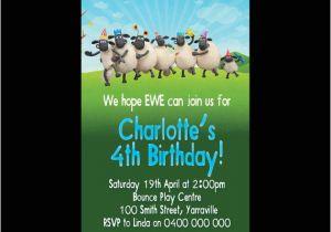 Shaun the Sheep Birthday Party Invitations Personalised Shaun the Sheep Birthday Invitations by