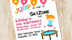 Sky Zone Birthday Invitation Template Trampoline Party Invitation Sky Zone Birthday Invitation