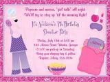 Slumber Party Invitation Poem Carte Invitation soirée Pyjama Carte D Invitation soirée