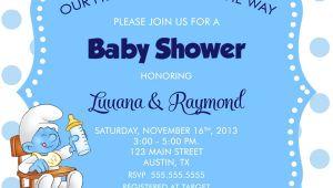 Smurfs Baby Shower Invitations Smurf Baby Shower Invitation