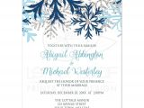 Snowflake Birthday Party Invitations Wedding Invitations Winter Snowflake Blue Silver