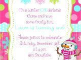 Snowflake Birthday Party Invitations Winter Snowflake Snowman Birthday Party Invitation