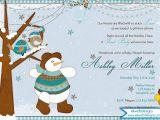 Snowman Baby Shower Invitations Winter Birds and Snowman Baby Shower Invitation Winter
