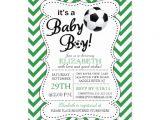 Soccer Baby Shower Invitations Modern Chevron It S A Baby Boy soccer Baby Shower 5×7