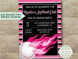 Softball Invitations Birthday softball Birthday Invitations softball Party