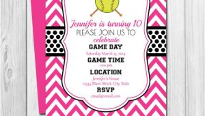 Softball Invitations Birthday softball Birthday Party Invitation Pink and Black