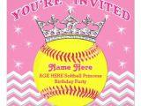 Softball Invitations Birthday softball Princess softball Birthday Invitations Zazzle