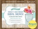 Southern Bridal Shower Invitations southern Bridal Shower Invitation with Mason Jar Bouquet