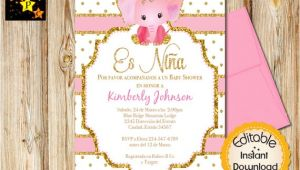 Spanish Baby Shower Invitation Spanish Baby Shower Invitation Girl Pink and Gold Elephant