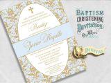 Spanish Invitations for Baptism Elegant Spanish Baptism Invitations Blue and Gold Baby Boy