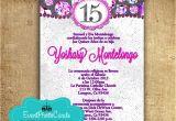 Spanish Wording for Quinceanera Invitations Purple Fuchsia Quinceanera Invitations In Spanish