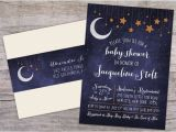Starry Night Baby Shower Invitations Over the Moon Starry Night Baby Shower Invitation with